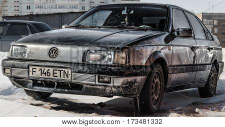 Kazakhstan, Ust-Kamenogorsk, 22 january, 2017: Volkswagen Passat B3, old car, old german car, grunge