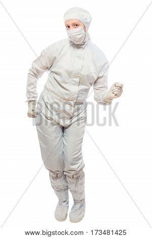 Cheerful Chemist Dancing On A White Background Isolated In A Protective Suit