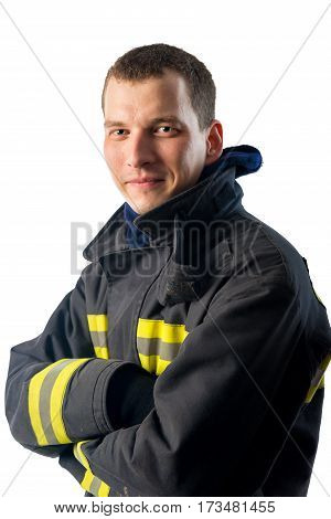 confident young Fireman on white background in studio