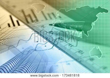 Financial background with map ruler graph and pen toned.