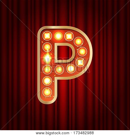Realistic Retro Gold Lamp Bulb Font Letter P. Part Of Alphabet In Vintage Casino And Slots Style.  V