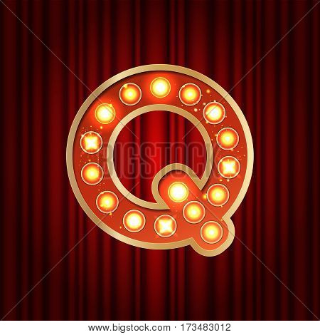Realistic Retro Gold Lamp Bulb Font Letter Q. Part Of Alphabet In Vintage Casino And Slots Style.  V