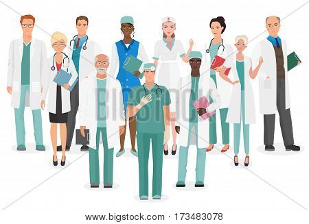 Hospital medical staff Team doctors together collection. Group of doctors and nurses people character set