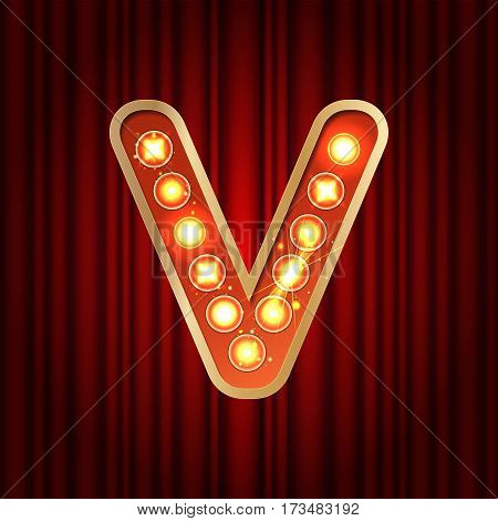 Realistic Retro Gold Lamp Bulb Font Letter V. Part Of Alphabet In Vintage Casino And Slots Style.  V