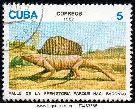 UKRAINE - CIRCA 2017: A stamp printed in Cuba shows a extinct animals from the park of dinosaurs in the reserve Baconao the series Valle de la prehistoria parque nac. Baconao circa 1987