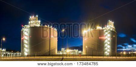 SwinoujsciePolandFebruary 2017:LNG terminal in SwinoujsciePoland,tanks and transmission capacity lng