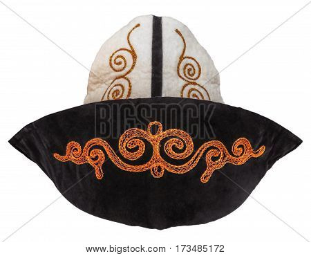 Kalpak - traditional Kazakh headwear isolated on white. Clipping path included