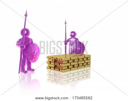 Pink armed mans with gold on white background 3D illustration.
