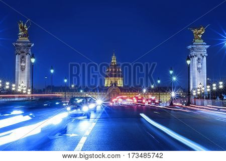 On March 20 2015: Traffic jam in front of Les Invalides in Paris France on March 20 2015.