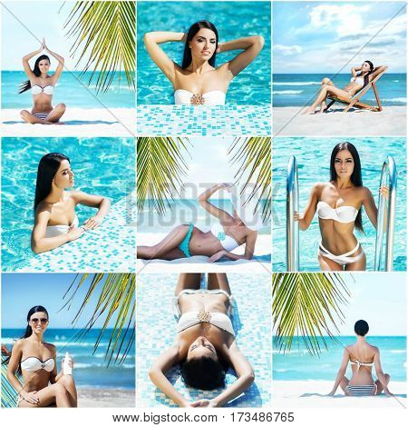 Attractive, sporty, smiling girl with sexy body. Woman in swimsuit on the beach. Collection collage. Holiday, vacation,summer, beauty concept.