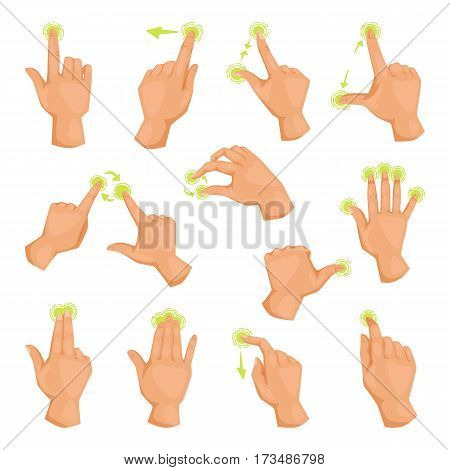 Screen mobile gadgets motion fingers gestures and hand touch phone communication touchscreen electronic tablet device vector illustration. Computer application click tap gesturing pointer.