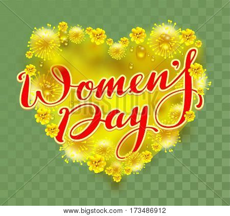 Yellow mimosa flowers heart shape on green background and womens day text. Vector illustration