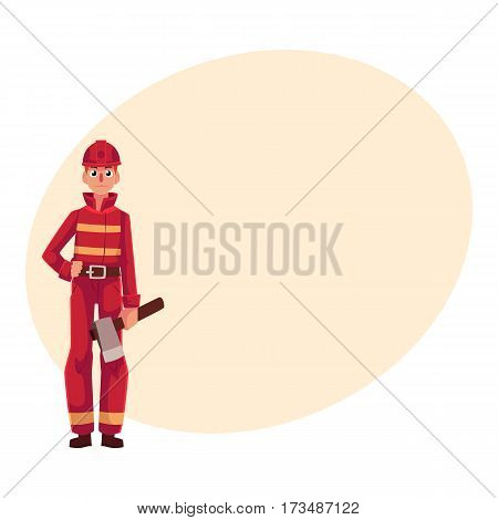 Firefighter, fireman in red protective suit holding axe in hand, cartoon vector illustration with place for text. Full length portrait of firefighter, fireman holding axe