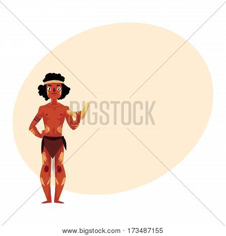 Australian aborigine in loincloth and war paint holding boomerang, cartoon vector illustration with place for text. Full length portrait of typical Australian, Tasmanian aborigine