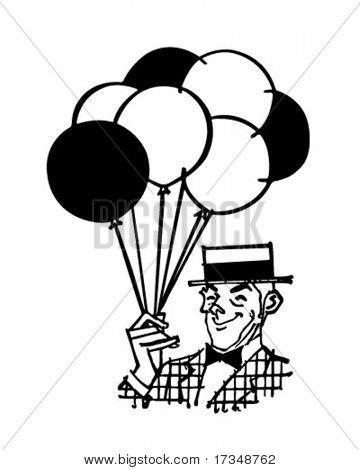 Balloon Man - Retro Vector & Photo (Free Trial) | Bigstock