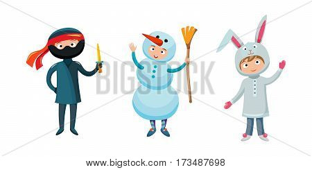 Kids different costumes isolated vector illustration. Playful character spooky baby superhero. Snowman ninja, rabbit children party funny clothes.