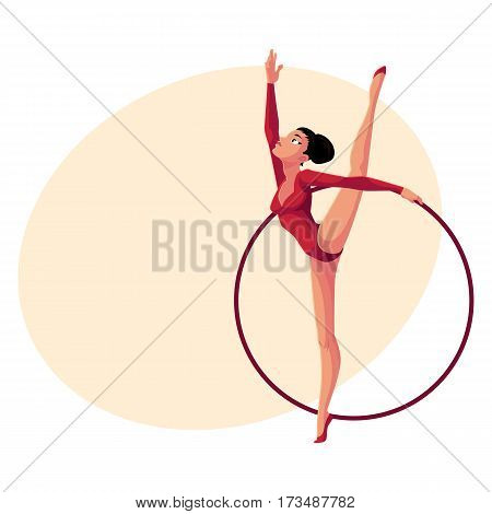 Beautiful girl in leotard standing in vertical leg split, rhythmic gymnastics with a hoop, cartoon vector illustration with place for text. Rhythmic gymnast exercising with hoop