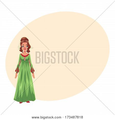 Full length portrait of Italian woman in Renaissance high waist dress, cartoon vector illustration with place for text. Medieval, Renaissance Italian woman in traditional historical dress