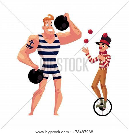 Circus performers - strongman, strong man and clown juggling balls while riding unicycle, cartoon vector illustration isolated on white background. Strongman and juggle circus performers