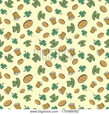 Saint Patrick's Day Pattern With Coins Cover Beer mug And Leprechaun Hat