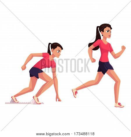 Young and pretty female runner, sprinter, jogger, ready to start and running, cartoon vector illustration isolated on white background. Woman, girl running, sprinter, track and field, competition