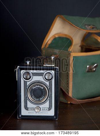 BEVERWIJK THE NETHERLANDS February 25 2017: Very old famous Vrede box standard menis camera on dark black background