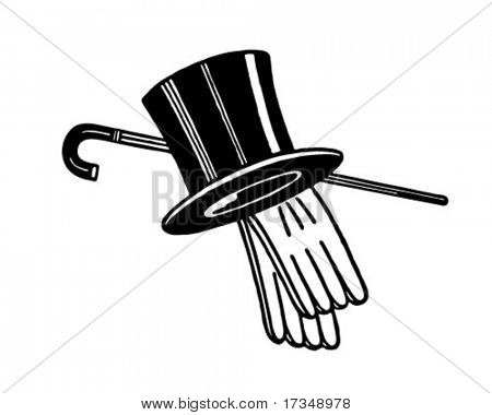 Top Hat, Gloves And Cane - Retro Ad Art Illustration