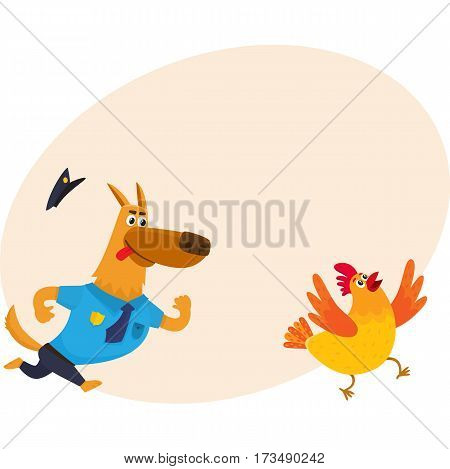 Funny shepherd dog character in blue police uniform chasing a chicken, cartoon vector illustration with place for text. Funny police dog character running after cackling chicken