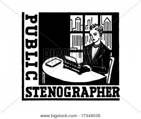 Public Stenographer - Retro Ad Art Banner
