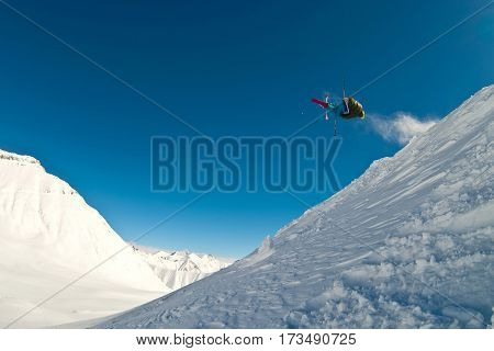 Skier flying in the air. Mountains of Georgia