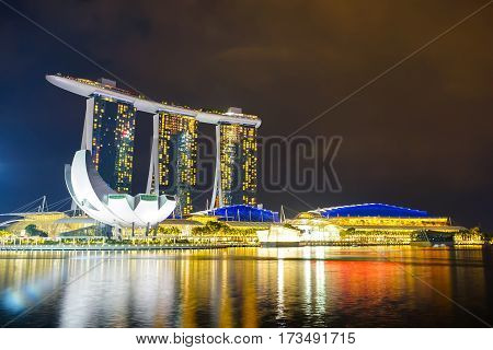 MARINA BAY SINGAPORE - JAN 20 2017: Landscape of the Marina Bay Sands in Singapore.