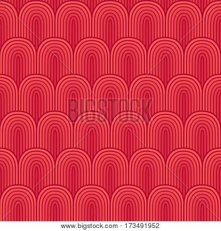 Red thin outlined seamless background vector illustration