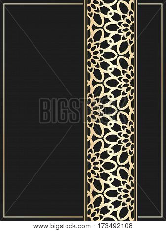 Islamic card. Golden border on black background. Vector template for restaurant menu. Wedding invitation in luxury style.