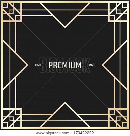 Vector geometric frame in Art Deco style. Square abstract element for design. Light golden lined shape. Sandblasting ornament.