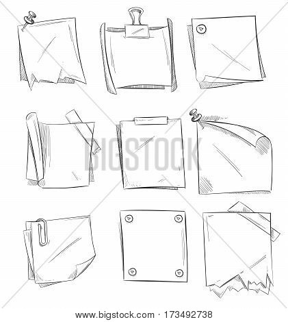 Doodle memo, hand drawn notepaper, art school sketch papers vector stock. Paper sheet drawing, illustration office note paper