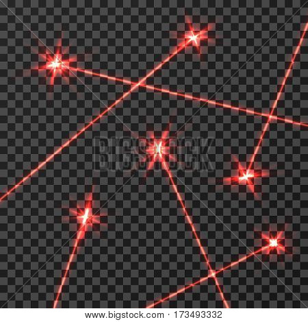 Red laser beams vector light effect isolated on transparent checkered background. Red light beam neon, illustration of technology beam line effect