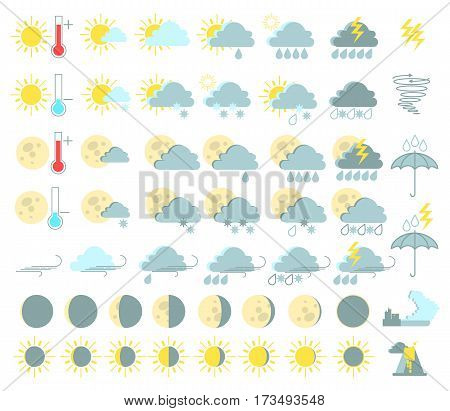 Weather set of colored icons. Rain and thunderstorms sunny tornado tsunami volcanic eruption. Vector
