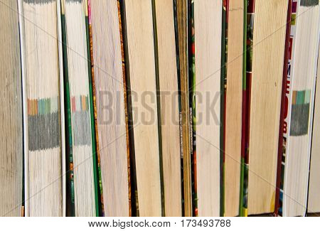 Many new books on a shelf. Books background