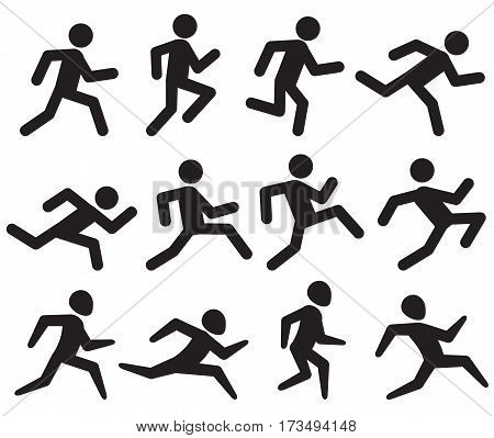 Man running figure black pictograms, jogging activity vector icons isolated on white. Sprinter man, illustration silhouette man run