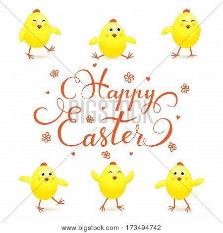 Easter theme with funny yellow chicks on white background, holiday lettering Happy Easter, illustration.