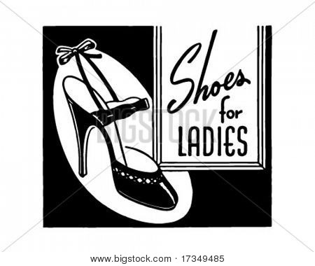 Shoes For Women - Retro Ad Art Banner