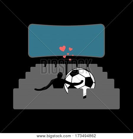 Lover Soccer. Football Ball In Movie Theater. Lovers Watching Cinema. Romantic Date. Love Sport Play