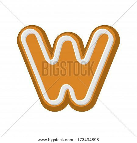 Letter W Gingerbread. Peppermint Honey-cake Font. Cookies Alphabet. Lettering Biscuit