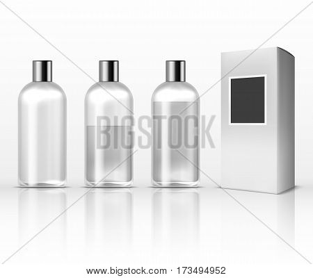 Cosmetic clear plastic bottles, empty transparent lotion containers isolated on white vector set. Glass container for lotion or perfume, illustration of bottle with perfume