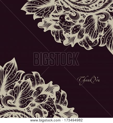 Hand Drawn Sketch Vintage Floral Vector Design With Flowers And Leaves