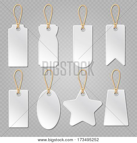 Blank baggage labels, white luggage tag, clothes price tags vector set. Tags for merchandise illustration