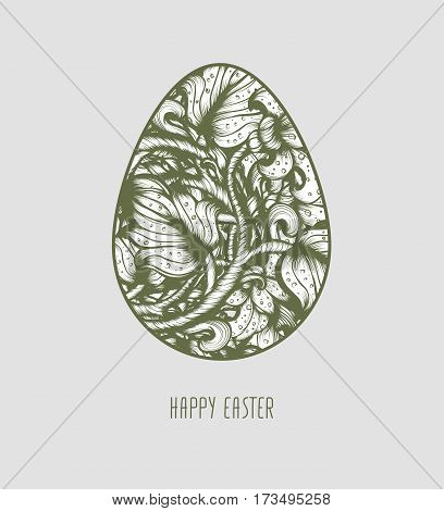 Hand Drawn Sketch Vintage Floral Vector Easter Egg