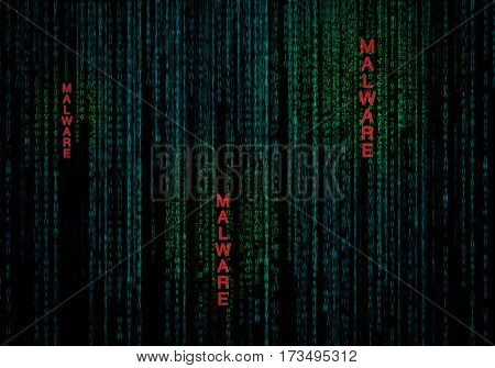 malware cyber background as concept of data security protection
