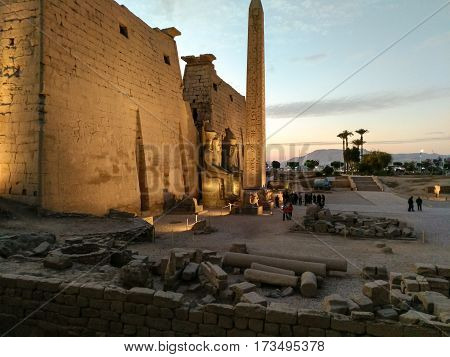 Egyptian ancient temple view in the night