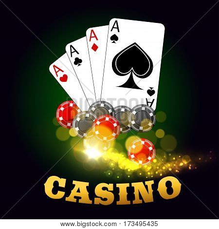 Casino gambling vector poster. Poker cards suits of hearts, diamonds, spades, clubs with gaming dices and poker cards. Las Vegas sparkling lights and golden letters on green table